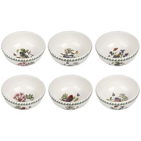 PORTMEIRION BOTANIC GARDEN BIRDS Ind fruit bowls set of 6 assorted motifs by Portmeirion