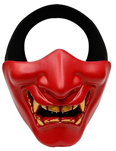 Frauen Rote Teufels Kostüm - Horror Halloween, Teufel Dämon Horror Grimasse Cosplay Kostüme Männer und Frauen Erwachsene Werden wie eine halbe Gesichtsmaske lachen,Rot