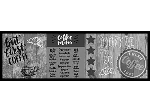 Primaflor - Ideen in Textil Küchenläufer Waschbar 50 x 150 cm First Coffee Grau Schmutzfangläufer rutschfest, Küchenteppich, Küchenvorleger Teppich Läufer Flur