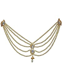 04be8c87a5b Lucky Jewellery Designer White Color Gold Plated Saree Sari Pearl Blouse  Back Accessories Jewelry Brooch Pin
