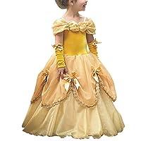 fffc831b30fc OBEEII Costumi Carnevale Bambini Abito Principessa Belle Carneval Costume  Fiaba dei Grimm Vestito da Ragazza Festa Halloween Natale Cerimonia 4-5 Anni