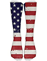 Estrange American Flag Women & Men Knee High Socks Baseball Athletic Tube Long Stockings