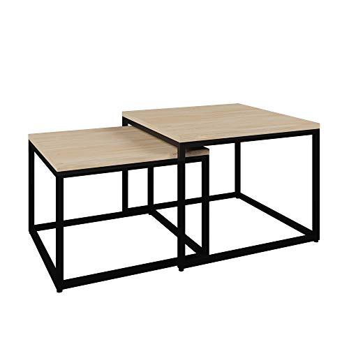 Vicco Loft Couchtisch Malibu Metall massiv Holz Eiche Duet 60x60 Industrial (Eiche Natur) - Malibu Glas Tisch