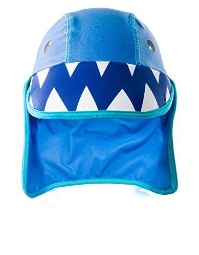 AquaWave Kinder Strandmütze Bademütze - idealer Sonnenschutz für Strand, Schwimmbad, See - atmungsaktiv und schnelltrocknend - Sharek, Blau