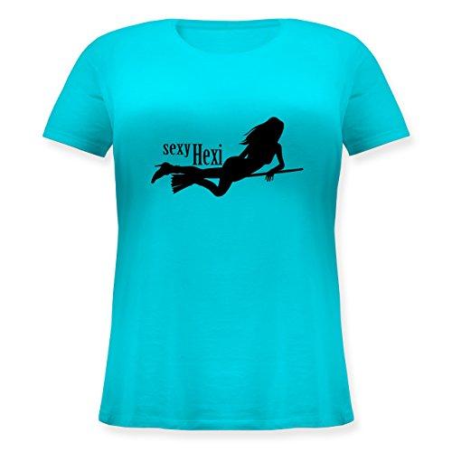 Halloween - smutty Hexy - S (44) - Türkis - JHK601 - Lockeres Damen-Shirt in großen Größen mit Rundhalsausschnitt
