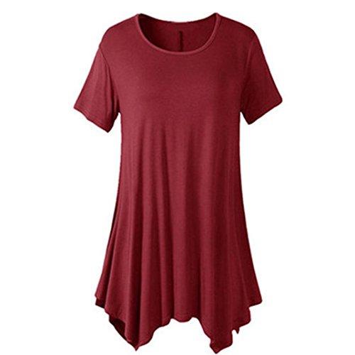 OYSOHE Damen Unifarben Unregelmäßige T-Shirt, Neueste Frauen Kurzarm O-Ansatz unregelmäßiger Rand Lose beiläufige T-Shirt Tops(Wein,XL)