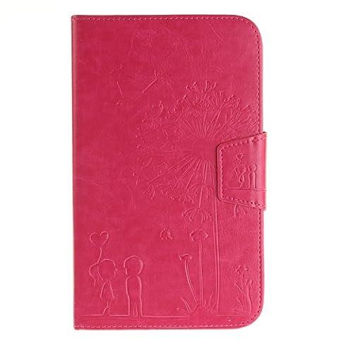 GHC Taschen & Hüllen, Löwenzahn-Präge-Blumen-Muster-Normallack-Mappen-Standplatz-Fall-Abdeckung für Samsung-Vorsprung 3 8.0 Zoll T310 T311 ( Color : Rose , Size : -Samsung Tab 3 8.0 Inch T310 T311 )