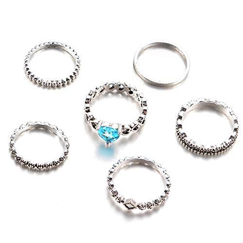 QIUMINGSS Frauen Neu Ring Schmuck Vintage 6PC Hochzeitsliebhaber Crystal Stack Ringe üBer Knuckle Elegante Mode Zarte Charmante Geschenk -