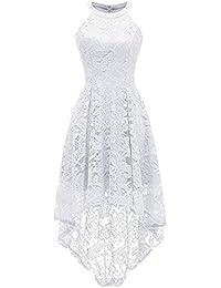 Cytree Damen Vintage Neckholder Abendkleider Vokuhila Cocktailkleider  Partykleider Vorne Kurz… 425b3e696c