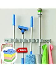 BLUE TOADS Broom Holder Wall Mounted with 5 Years gaurantee+Microfiber Cloth | 4 Slots and 4 Hooks-Nothing Slides with Our Broom mop Holder