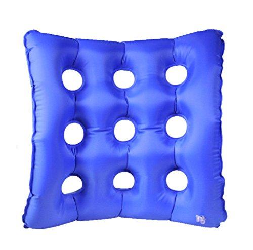 GxNI Medizinische Luft Sitzkissen Anti-Dekubitus Aufblasbare Luftkissen Aufblasbare Anti-Druckkranheiten Hämorrhoiden Pflege Rollstuhl Stuhl Sitzkissen (Blau) 43x43cm