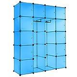 TecTake XXL Steckregal Kleiderschrank Schrank Regal Kunststoff mit Kleiderstange 147x47x183cm - Diverse Farben - (Blau | Nr. 402088)
