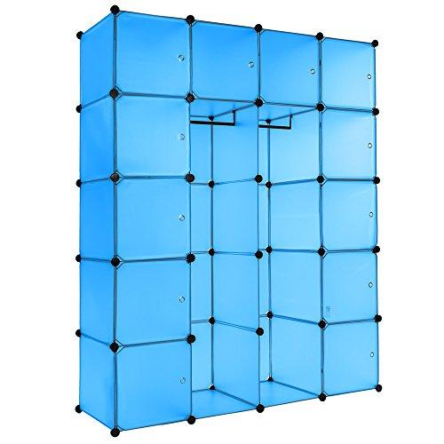 TecTake Estantería de plastico modular armario cuadrados ropero organizador con barra de colgar - disponible en diferentes colores - (Azul | No. 402088)