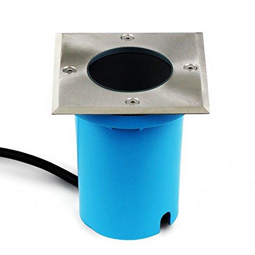 Bodenbeleuchtung Entrada GU10 max 50W. 230V. IP65 inkl. Montagedose Boden Terrassen Außen Garten Einbaustrahler Einbauleuchte WegbeleuchtungBoden Terrassen Außen Garten Einbaustrahler (eckig) -