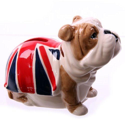 Puckator LON21 Design Spardose Bulldogge mit Flagge GB, rot/blau/weiß/braun -