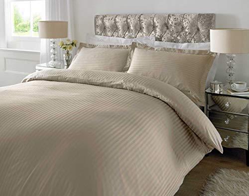 Aquisite Luxus 100% Baumwolle Fadenzahl 300 Satin Streifen Bettwäsche-Set Bettwäsche-Set Einzel-, Doppel-, King-Size-, Super-King-Size-, Mehrfarbig, Humus, Super King