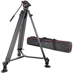 VILTROX VX-18M 188cm/74 pouces Professionnel Trépied Vidéo Alliage Aluminium avec Hydraulique Fluide Rotule Pour Canon Nikon Sony DSLR Caméra Charge Admissible de 12kg