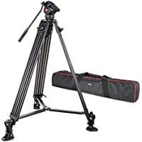 "VILTORX® VILTROX VX-18M Professional Aluminum alloy Heavy Duty Video Camera Camcorder Panorama Tripod with Fluid Drag Head for Canon Nikon Sony DSLR Camera & Video Recorder DV Camcorder,188cm/74"" inch"