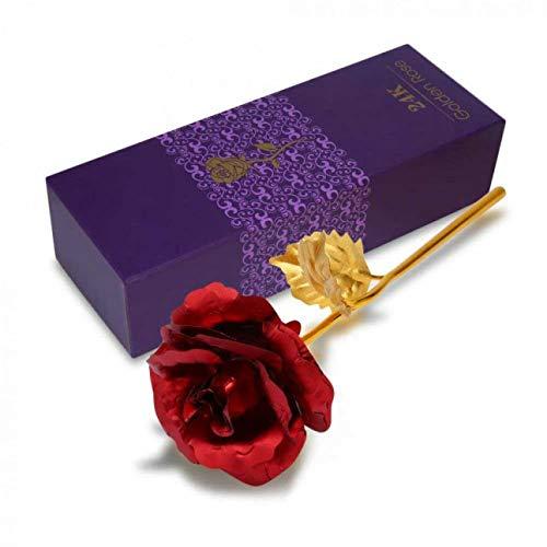 AWJ06 Rose Rose Rose Rose Eternal Love 24K Golden Foil Plated Rose Künstliche Blume (1 Stück)