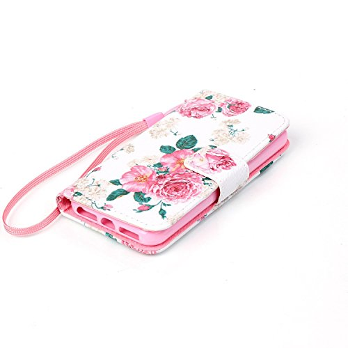 Hülle für Apple iPhone 5 5S SE - Yihya PU Leder Schutzhülle Handyhülle Magnetic Closure Style Flip Wallet [Stand Function] Cover Case mit Cards Slots und Lanyard Strap + Stylus Pen--Stil 09 Stil 33