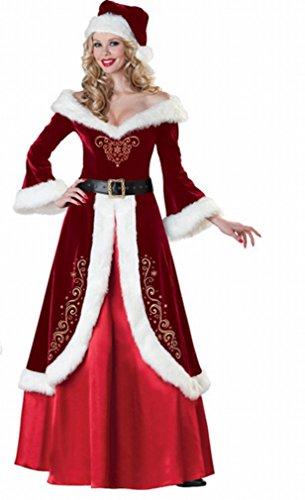 Kleidung Erwachsene Männer und Frauen Gehobenen Verdickung Kleidung High-End Weihnachts Anzug,C,XXL (Santa Anzug Für Frauen)