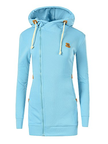 N004 Damen Pullover Long Kapuzenpullover Sweatshirt Hoodie Jacke Langarm, Farben:Türkis;Größen:M
