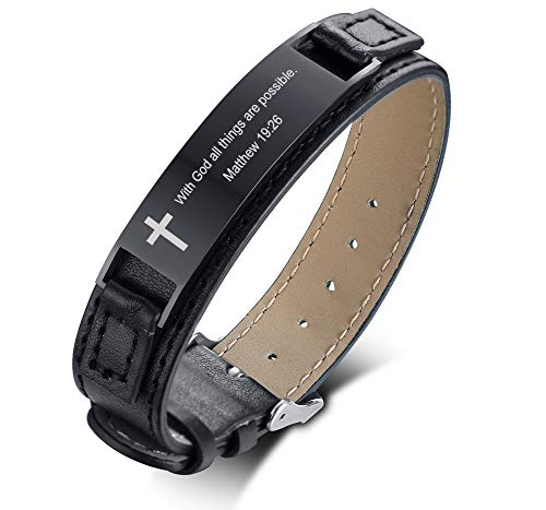 PJ JEWELRY Mit Gott sind alle Dinge möglich Matthäus 19:26 Inspiring Men's Christian Bibe Verse Armband, Schwarz