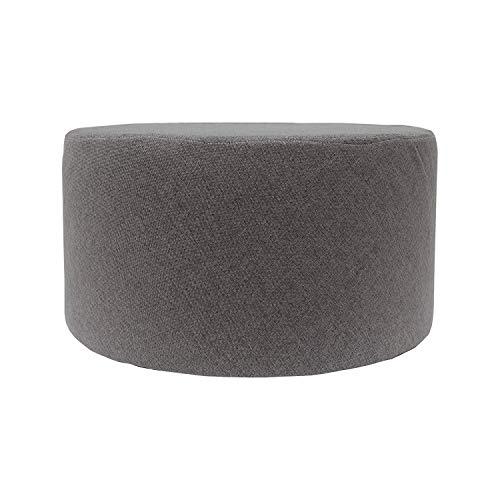 Rebecca mobili puff poggiapiedi piatto, tessuto grigio, soggiorno, complementi d'arredo - misure 25 x 45 x 45 cm (hxlxp) - art. re4543
