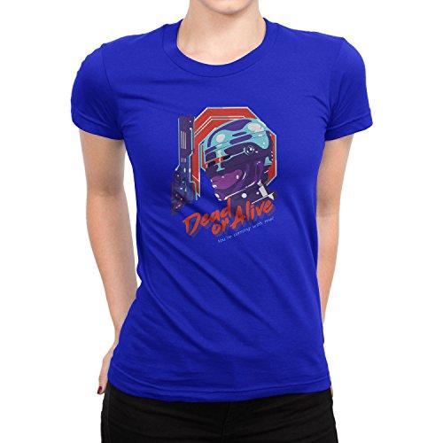 Planet Nerd - Dead or Alive - Damen T-Shirt, Größe S, blau (Starship Trooper Kostüm)