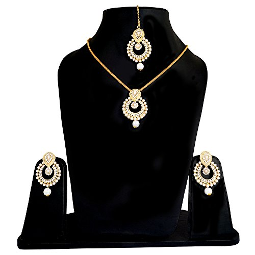 ARTIFICIAL JEWELLERY GOLD PLATED PEARLS PENDANT & NECKLACE SET WITH EARRING & MANG TIKKA FOR GIRL & WOMEN BY TRENDY, IMITATION FASHION JEWELLERY NECKLACES & PENDANT SET FOR GIRL AND WOMEN,  available at amazon for Rs.250