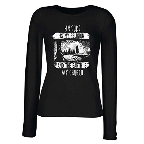 lepni.me Manches Longues Femme T-Shirt La Nature est ma Religion et la Terre est Mon Église - Extérieur, Camping, Amoureux de L'Aventure Noir Multicolore