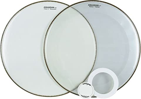 Aquarian Drumheads FFP24WH Full Force Packs 24-inch Bass Drum Head, gloss white