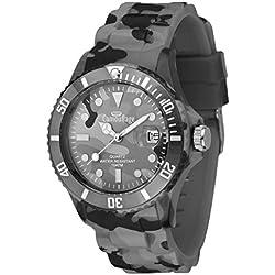 Analog Quartz Wristwatch Camouflage Silicone Strap, Speaker Polycarbonate 10ATM 40mm, Grey