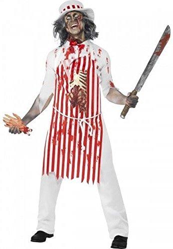 Herren Zombie Blutiges Metzger Leiche Halloween Horror Kostüm Kleid Outfit - Weiß/Rot, Medium / 38