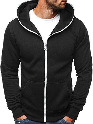 ozonee Felpa uomo felpa con cappuccio sweat maglione sportivi Pullover J. STYLE AK15 NERO_ozn-68007
