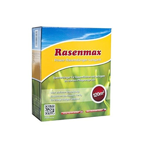 Rasenmax Premium Power Rasendünger mit Unkrautvernichter und Moosvernichter mit Langzeitwirkung für Tiere geeignet - 3kg.