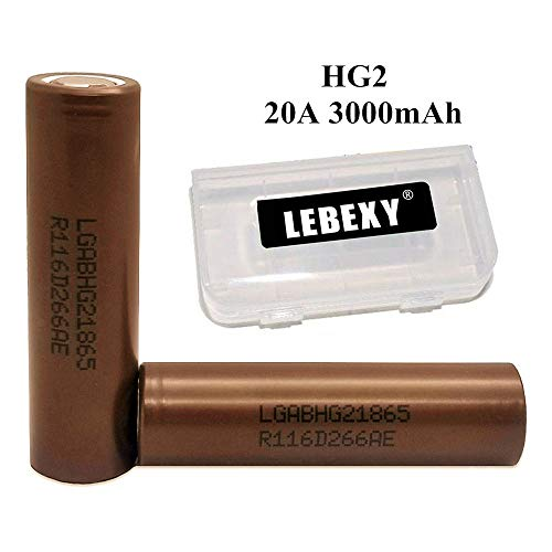LEBEXY I8650 Akku HG2 Akkus INR für Elektronische Zigarette Accu batterien (3000mAh/3,7V/20A/Li-Ion)
