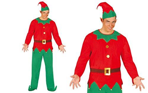 Guirma Costume Uomo Elfo Aiutante Babbo Natale, Colore Rosso, Taglia Unica