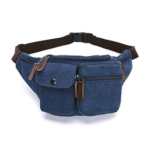 MeCooler Bauchtasche Sport Bag Gürteltasche Herren Hüfttaschen Vintage Geldbeutel Brusttasche Sporttasche Canvas Reisetaschen Outdoor Trinkgürtel Tasche Blau