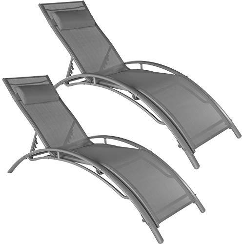 TecTake 800675 2 Bains de Soleil en Aluminium, inclinables sur 5 Positions, pour Jardin et Piscine, Coussin pour la tête Inclus – Plusieurs Coloris Disponibles – (Gris | no. 403063)