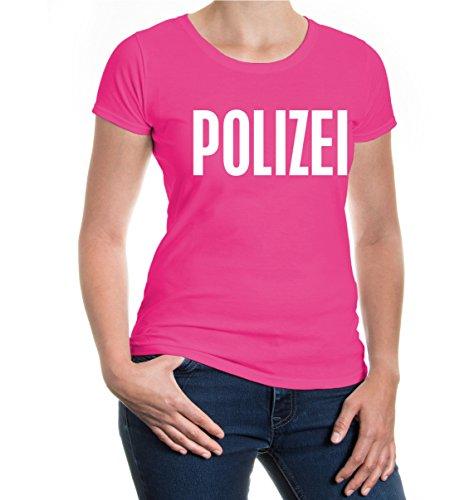 buXsbaum® Girlie T-Shirt POLIZEI Fuchsia-White