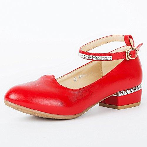 DGSA Rindfleisch sehne, Verschleiß gering Tanzschuhe weiblichen Leder Licht port Schuh Rot (5502 Schnallen mit)