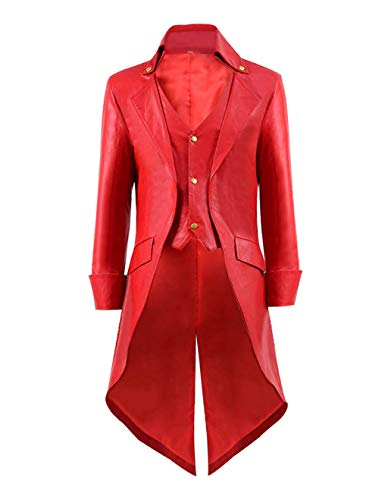 ampunk Gothic Frack Vintage Viktorianischen Cosplay Jacke PU Leder Smoking Jacke Uniform Mantel (L, Rot A-Stil) ()