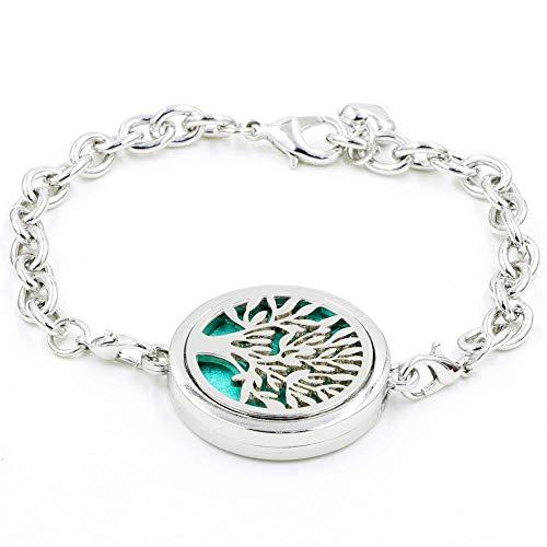 FOONEE Diffusor-Armband für ätherische Öle, Aroma-Armband mit Baum des Lebens, Diffusor-Armband, Lotus Schmuck-Set mit Nachfüllpads für Frauen Baum (Home-duft-aroma-perlen)