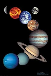 Educational - Bildung NASA Sonnensystem - NASA Solar System Bildungsposter Plakat Druck - Maxiposter Version in Englisch - Grösse 61x91,5 cm