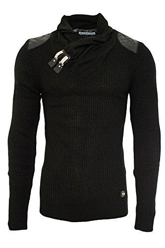 Redbridge Designer R-41500 Pull en tricot pour homme Noir - Noir