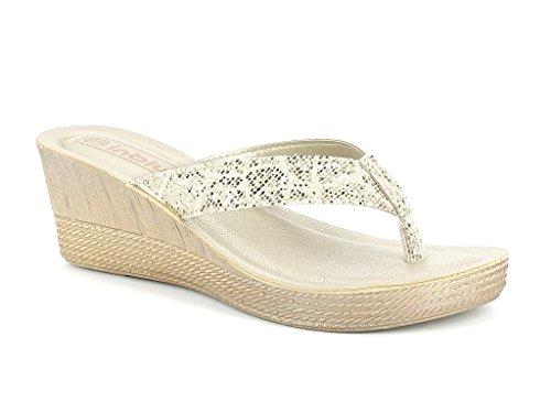 Femmes Dames Sparkly Toe Post Confort Casual Enfiler Talon compensé Sandals Chaussures Taille Or