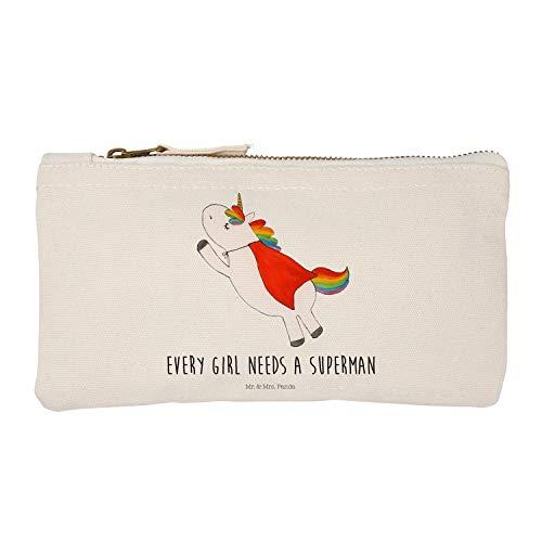Mr. & Mrs. Panda Damen, Etui, S Schminktasche Einhorn Superman mit Spruch - Farbe Weiß