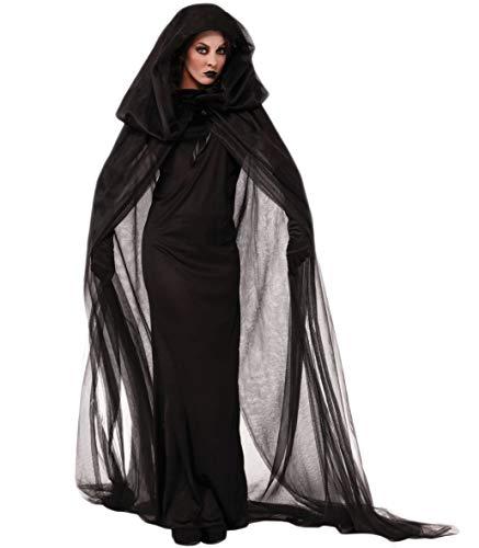 Fortuning's JDS® Frauen Halloween-Hexe Vampir-Kleid Tulle Cape Handschuhe Cosplay Partei-Kostüm(3Pcs)