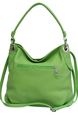 AMBRA Moda Damen echt Ledertasche Handtasche Schultertasche Beutel Shopper Umhängtasche GL012 (Apfelgrün) -